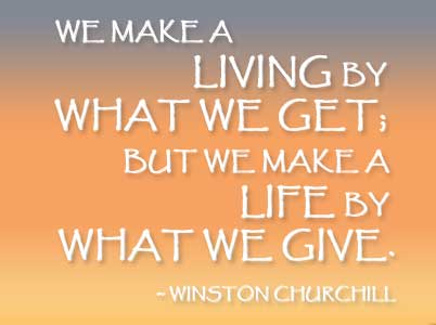Winston Churchill Quote for Life Coaching for your Community-Bucks County PA